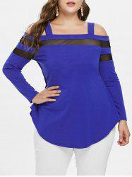 Mesh Panel Plus Size Square Neck T-shirt -