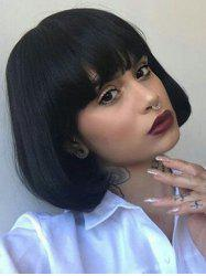 Full Fringe Short Straight Bob Human Hair Wig -