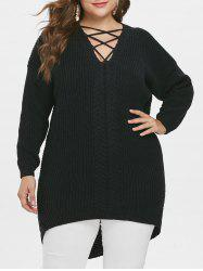 Criss Cross Plus Size Pullover Sweater -