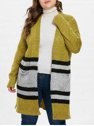Striped Panel Plus Size Collarless Cardigan -