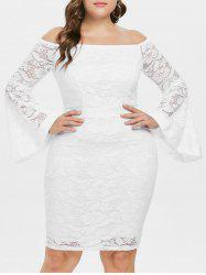 Off The Shoulder Plus Size Lace Bodycon Dress -