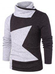 Color Block Shawl Collar T-shirt -