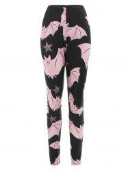 Cartoon Bats Print Leggings d'Halloween -