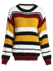 Drop Shoulder Color Block Sweater -