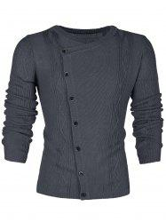 Slant Button Placket Slim Fit Sweater -