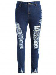Plus Size Slim Fit Ripped Jeans -