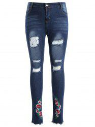 Floral Embroidery Plus Size Ripped Jeans -