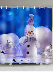 Christmas Snowman Pearl Waterproof Shower Curtain -