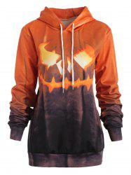 Sweat-shirt Halloween Brillant Citrouille Imprimé à Cordon -