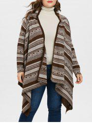 Patterned Plus Size Asymmetrical Cardigan -