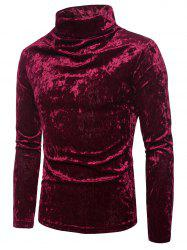Turtleneck Solid Coral Fleece Pullover Sweatshirt -