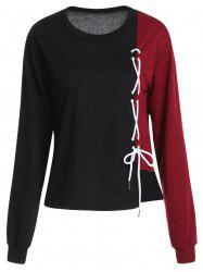 Crew Neck Color Block Lace Up Sweatshirt -
