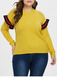 Plus Size Ruffle Ribbed Panel Sweater -