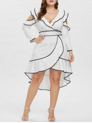 Plus Size V Neck Ruffle High Low Dress -