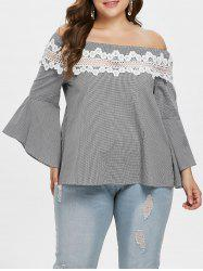 Plus Size Lace Insert Checked Flare Sleeve Blouse -