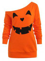 Sweat-shirt d'Halloween Citrouille Imprimé à Manches Raglan -