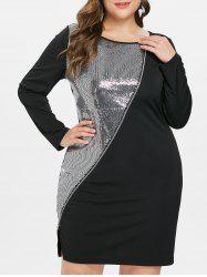 Plus Size Side Split Sparkly Dress -