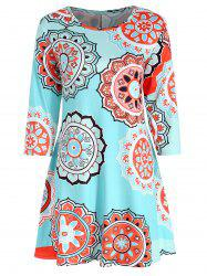 Three Quarter Sleeve Print Dress -
