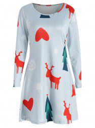 Christmas Print Three Quarter Sleeve Dress -