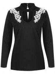 Floral Applique Cut Out Full Sleeve T-shirt -
