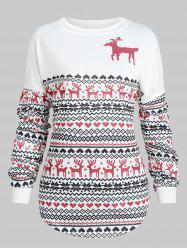 Christmas Deer Print Drop Shoulder Sweatshirt -