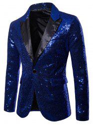 Custom One Button Pockets Sequin Blazer -