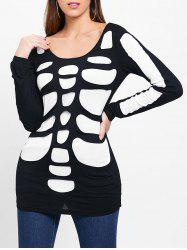Cut Out Ripped Halloween Skeleton T-shirt -