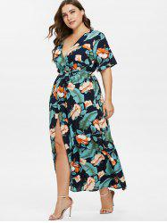 Floral Leaf Slit Plus Size Dress -