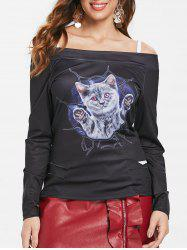 Halloween Cat Print Open Shoulder Ribbed T-shirt -