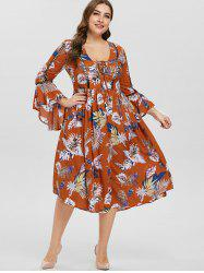Plus Size Lace-up Printed Bell Sleeve Dress -