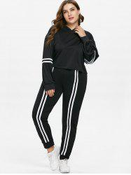 Plus Size Striped Hoodie and Joggers Pants Set -