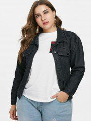 Embroidered Plus Size Jean Jacket -