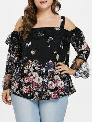 Floral Print Plus Size Lace Panel Blouse -