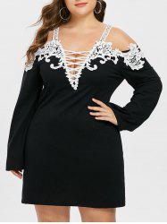 Plus Size Applique Criss Cross Dress -