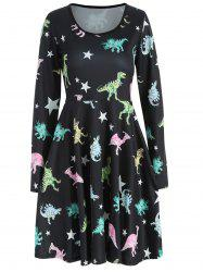 Dinosaurs Print High Waist Dress -