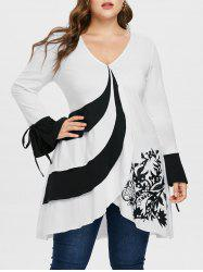 Plus Size Bell Sleeve Overlap T-shirt -