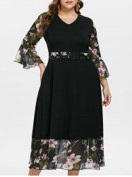 Floral Flare Sleeve Plus Size Maxi Dress -