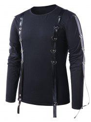 PU Leather Strap Long Sleeve T-shirt -