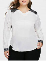 Plus Size V Neck Lace Eyelash Blouse -