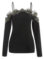 Lace Applique Cold Shoulder Full Sleeve T-shirt -