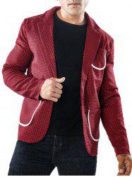 Single Button Bordure Pocket Houndstooth Blazer -