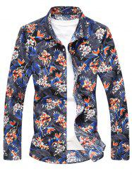 Flower and Leaves Print Casual Shirt -