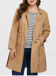 Plus Size Elastic Waist Long Coat -