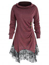Full Sleeve Heap Collar Skirted T-shirt -