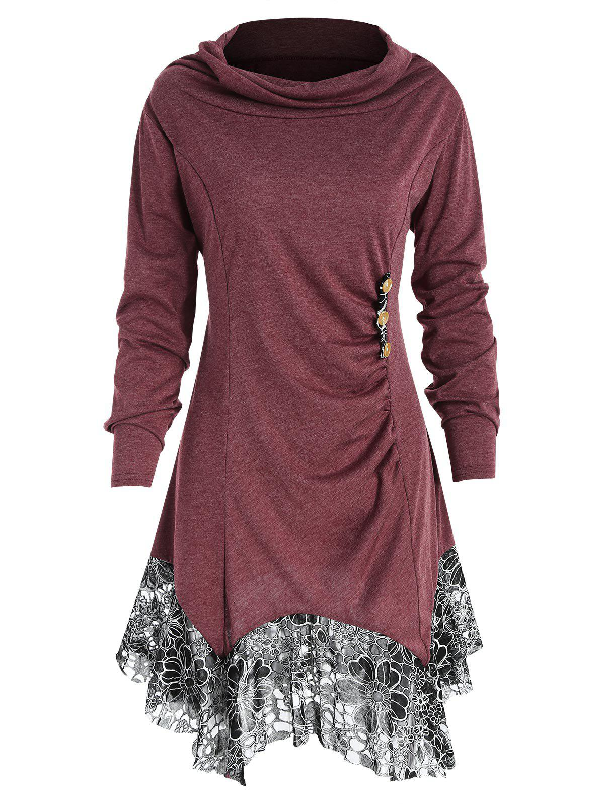 Chic Full Sleeve Heap Collar Skirted T-shirt