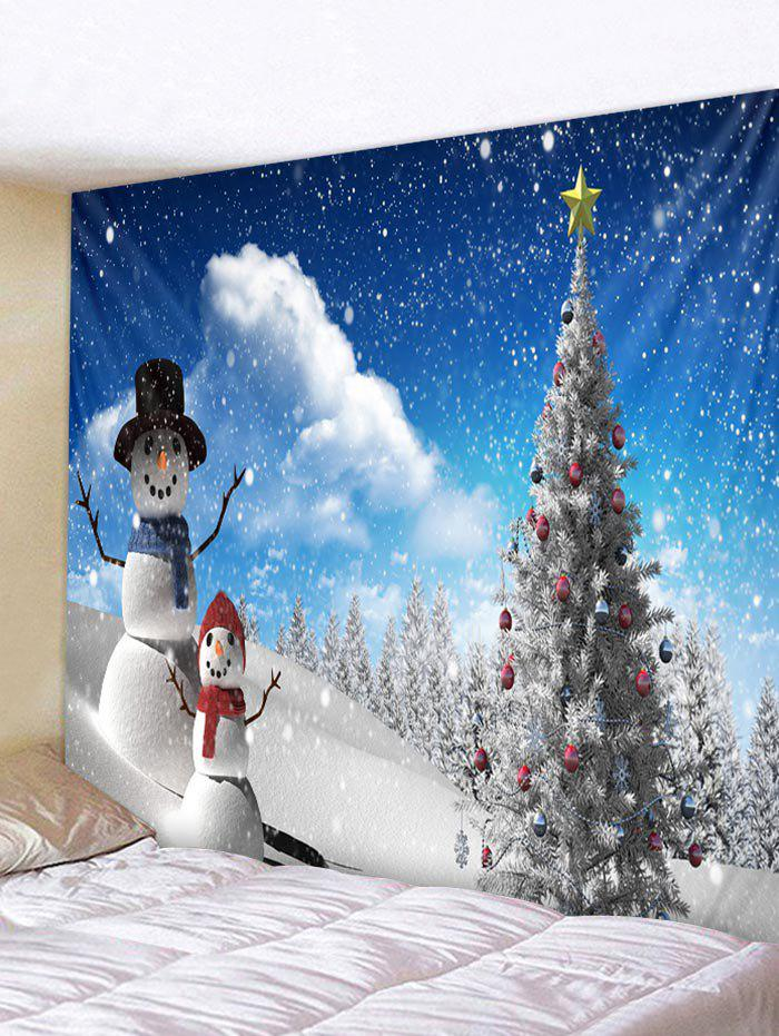 Latest Christmas Tree and Snowmen Pattern Home Decor Tapestry