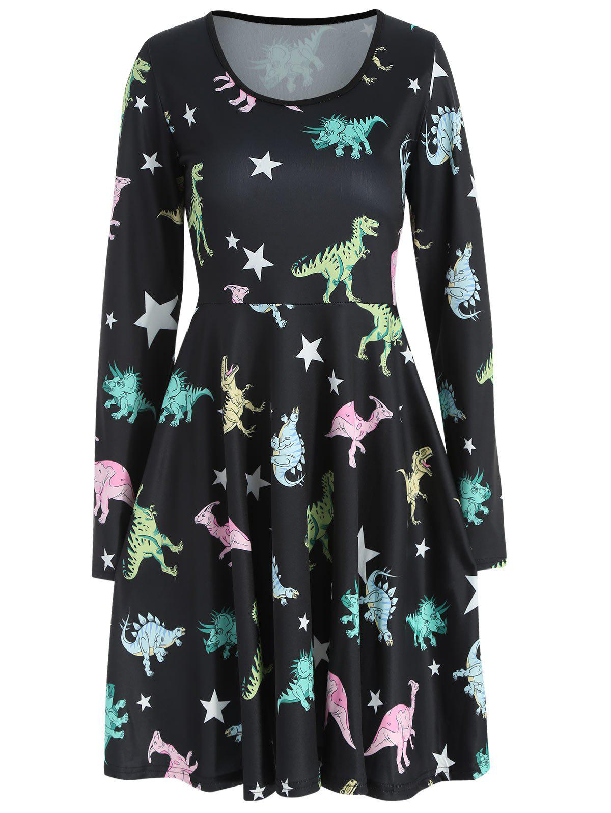 Sale Dinosaurs Print High Waist Dress