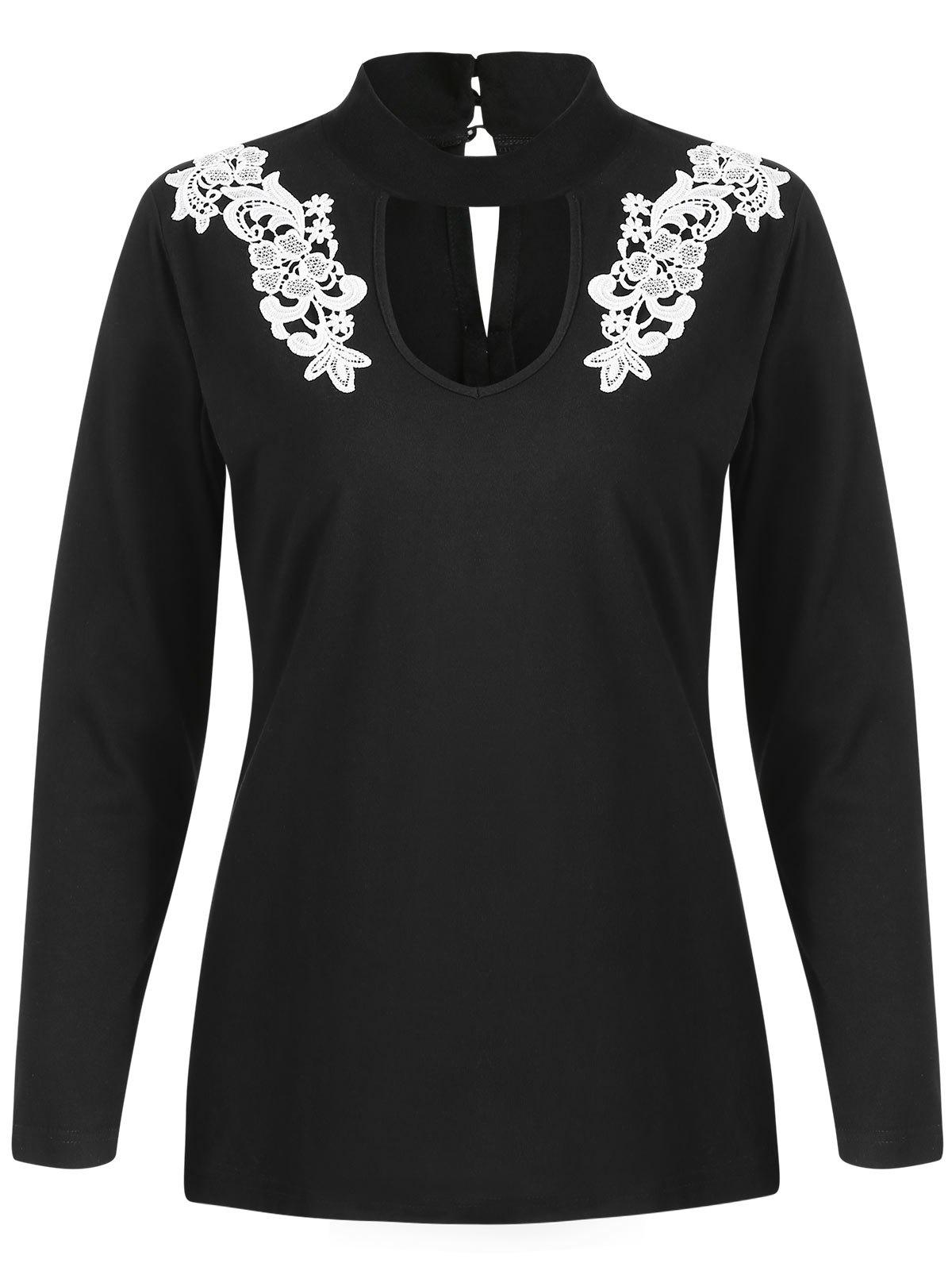 Cheap Floral Applique Cut Out Full Sleeve T-shirt