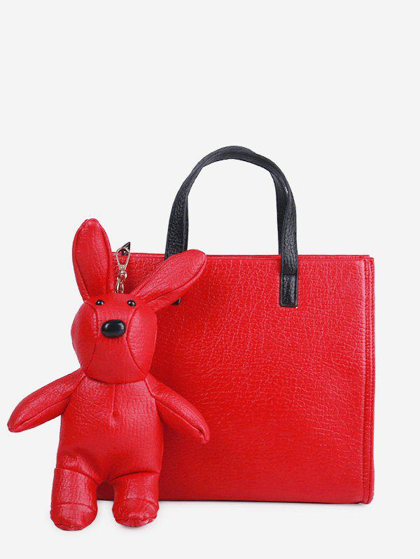 Unique Bear Embellished PU Leather Handbag