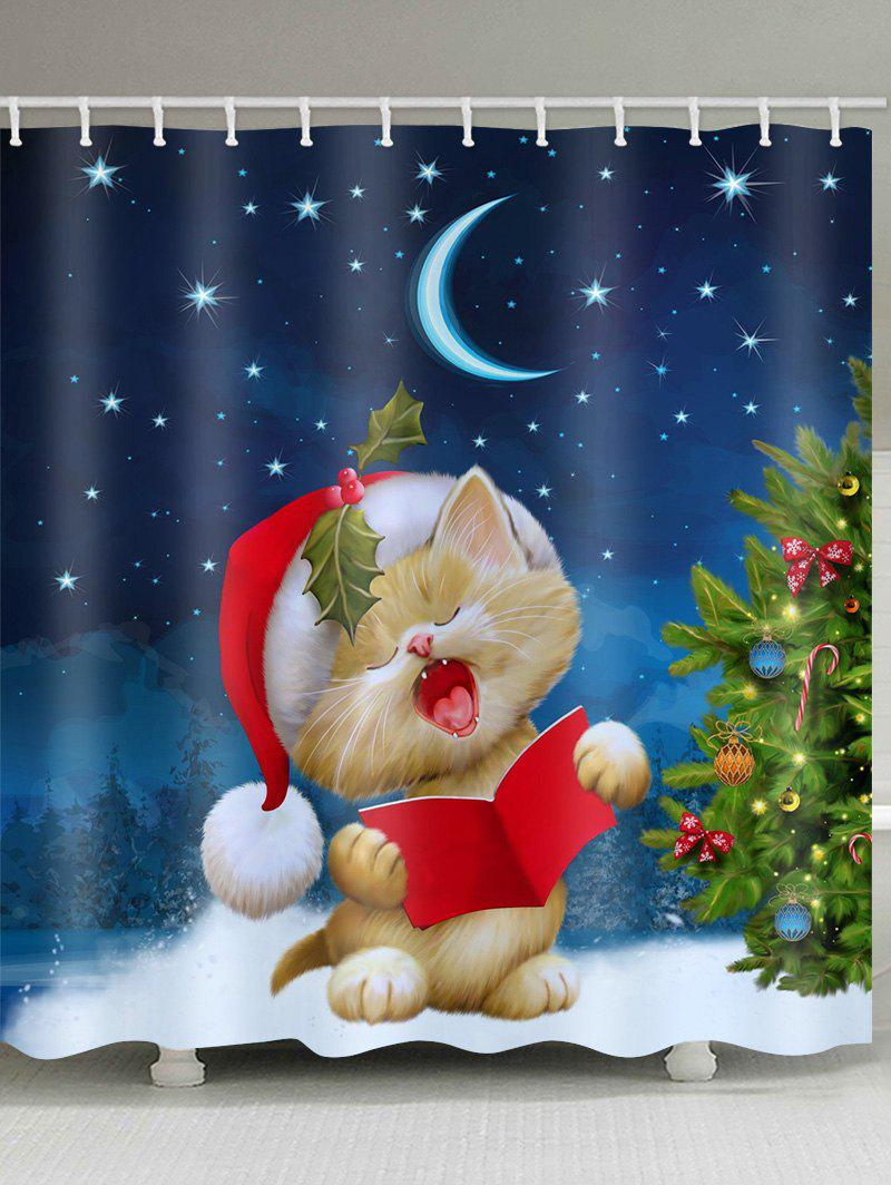 Online Christmas Tree Cat Waterproof Shower Curtain